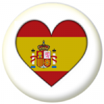 Spain Country Flag Heart 25mm Button Badge